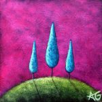 "Day 26 - Blue Trio, 3""x3"""
