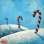"Number 91 - Candy Canes, 3""x3"""