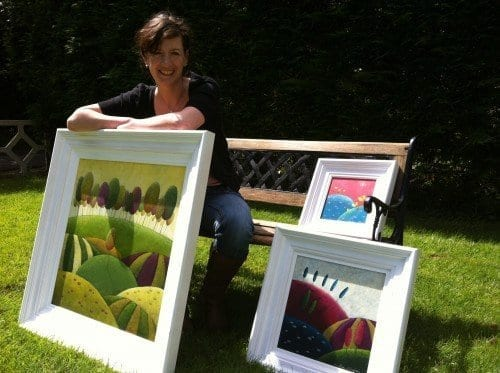 Amélie Gagné and some of her paintings