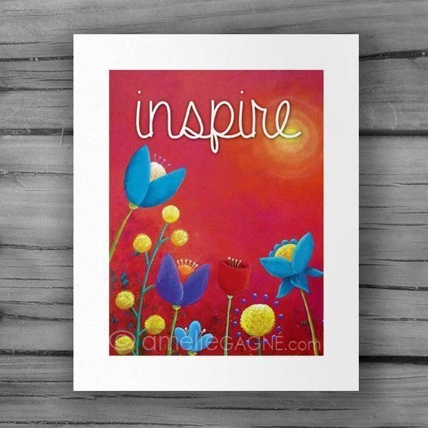 Red inspirational print