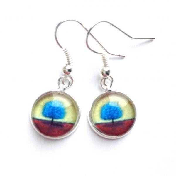 Blue tree drop earrings