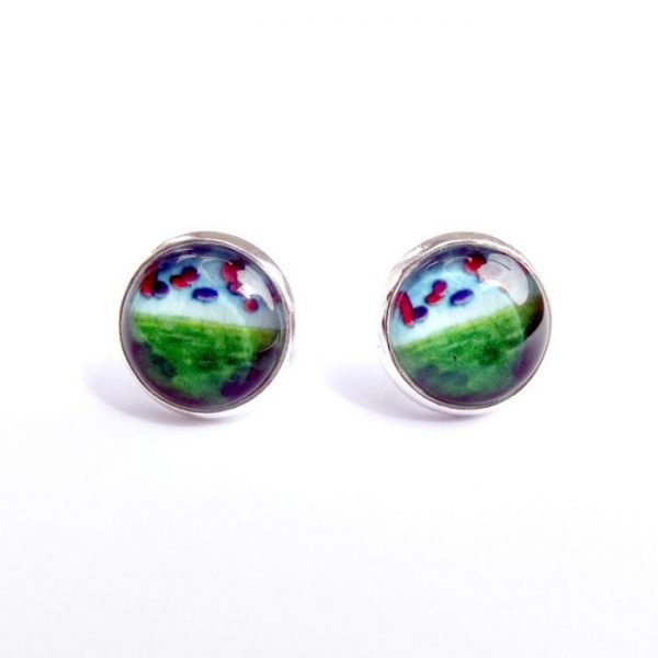 blue and red post earrings