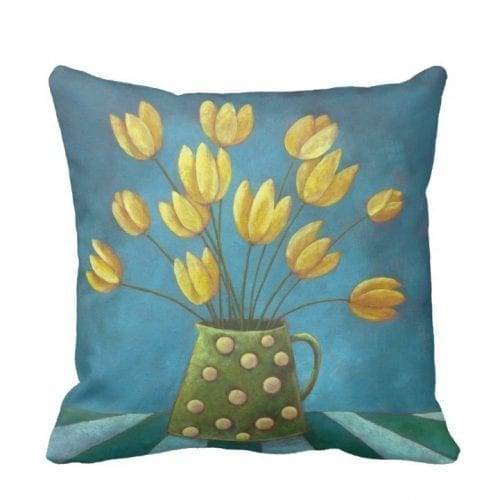 blue and yellow cushion