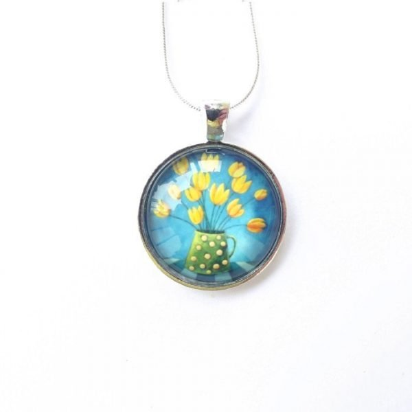 Turquoise glass pendant