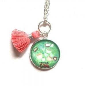 Mint Green Tassel Necklace