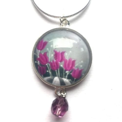 Purple bead pendant Amélie Gagné Studio
