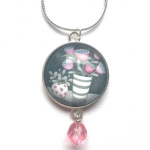 Pink beaded pendant