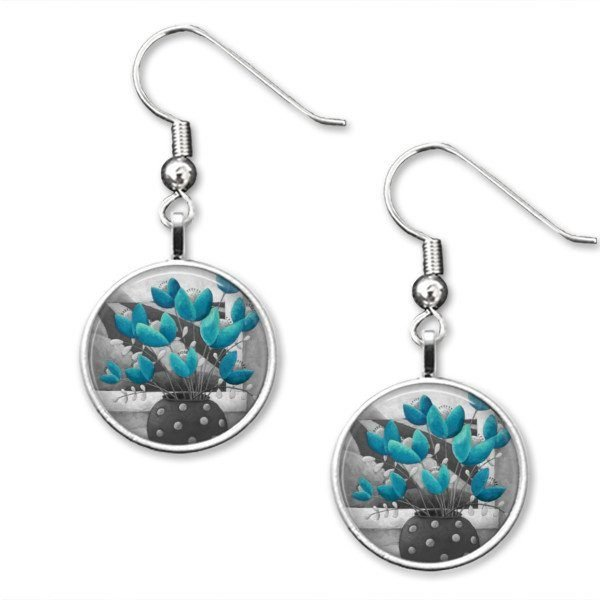 Grey and blue drop earrings