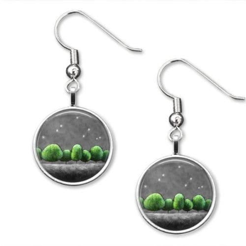 Green and grey Drop earrings
