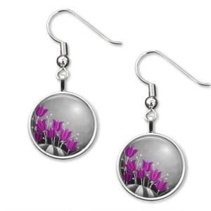 Purple and grey earrings