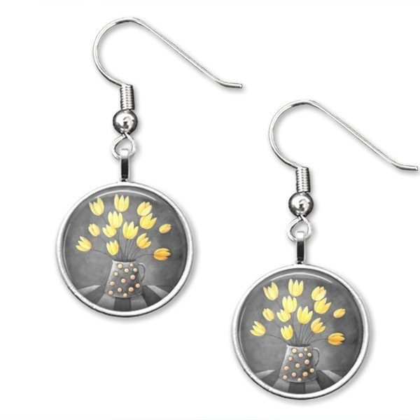 Yellow and grey Drop earrings