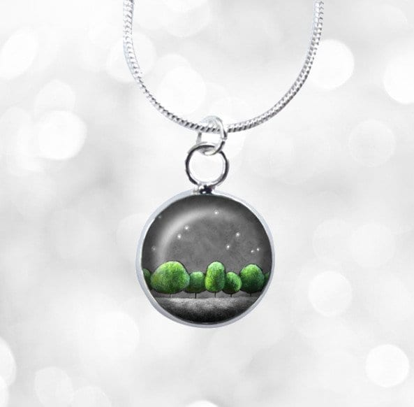 Mini green and grey necklace