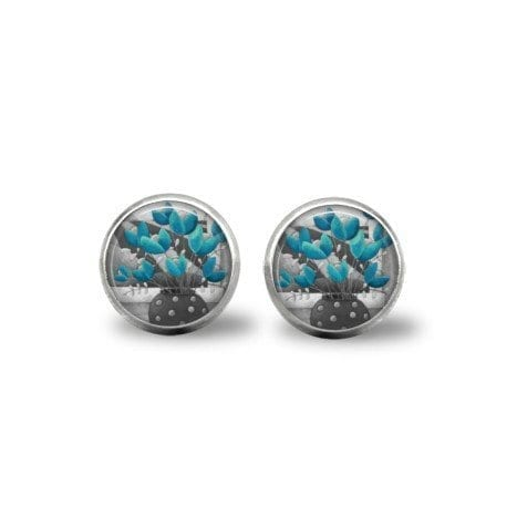 blue and Grey earrings