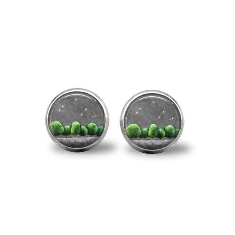 green and grey earrings