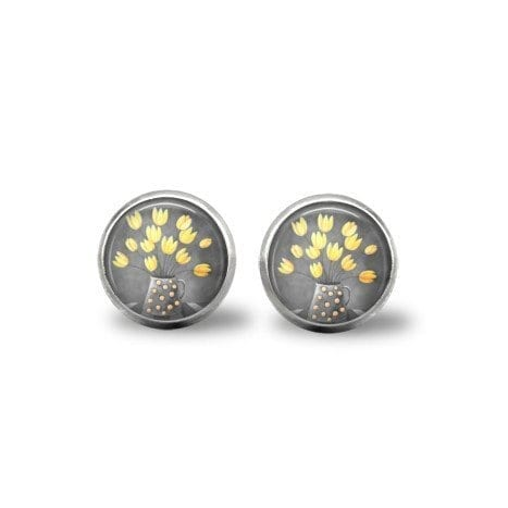 yellow and grey earrings