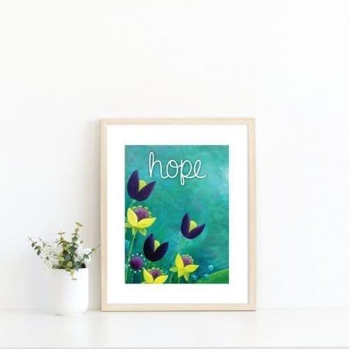 Hope turquoise printable print