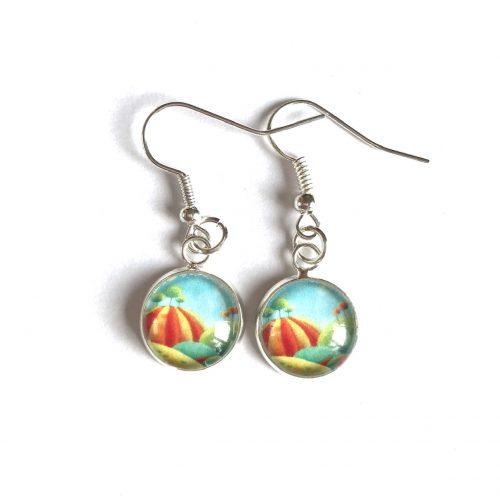 Blue and orange drop earrings