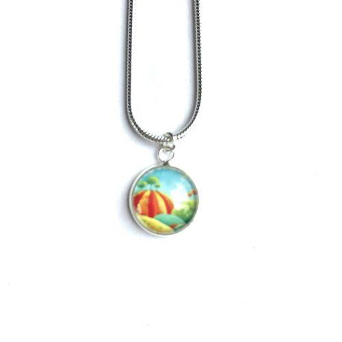 Blue and orange mini necklace