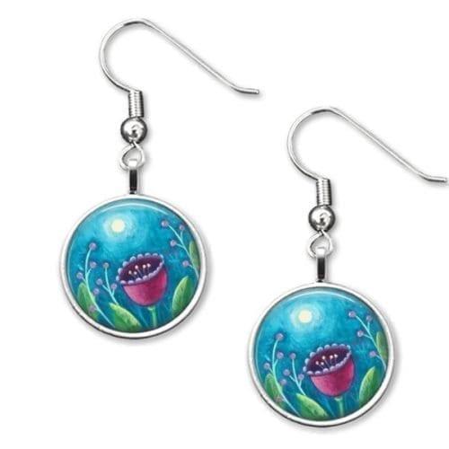 Moon and flower drop earrings