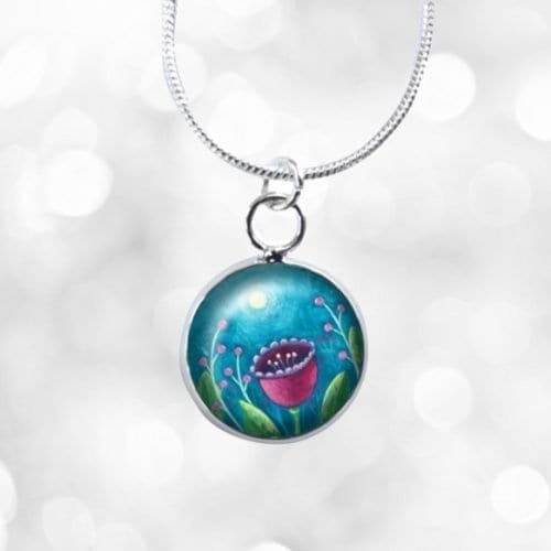 Moon and flower mini necklace
