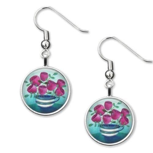 Teacup and flowers drop earrings