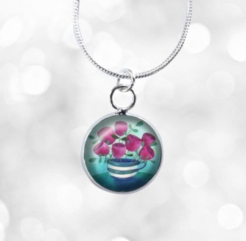 Teacup and flowers mini necklace