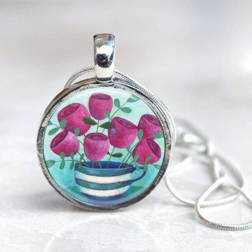 Teacup and flowers necklace