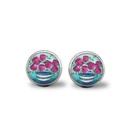 Teacup and flowers post earrings