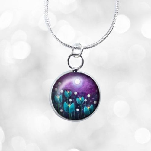 Purple and blue mini necklace